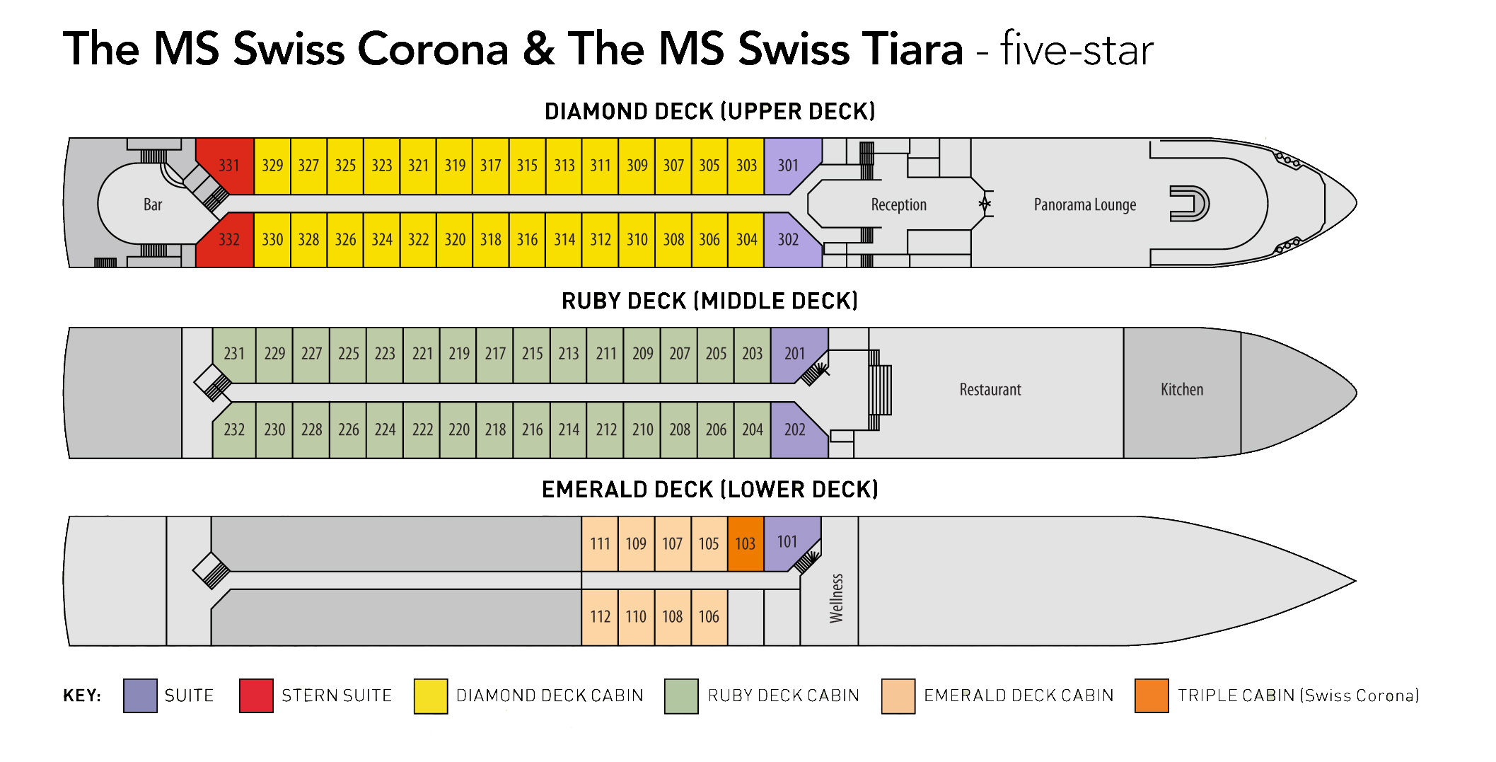 Ms Swiss Corona Deck Plan Riviera Travel Go Cruise