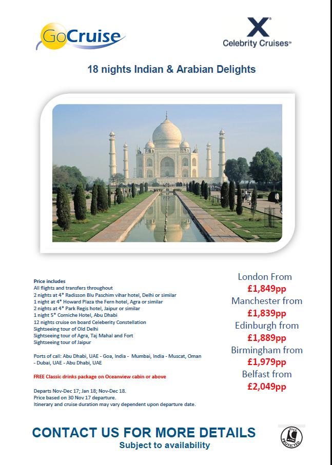 18 Nights Indian Arabian Nights Cruise On Celebrity Millennium